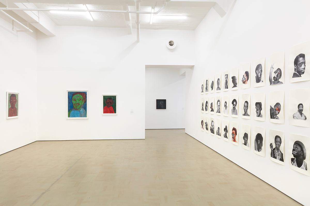 Installation view with works by Moshekwa Langa, Nelly Guambe and Neo Matloga