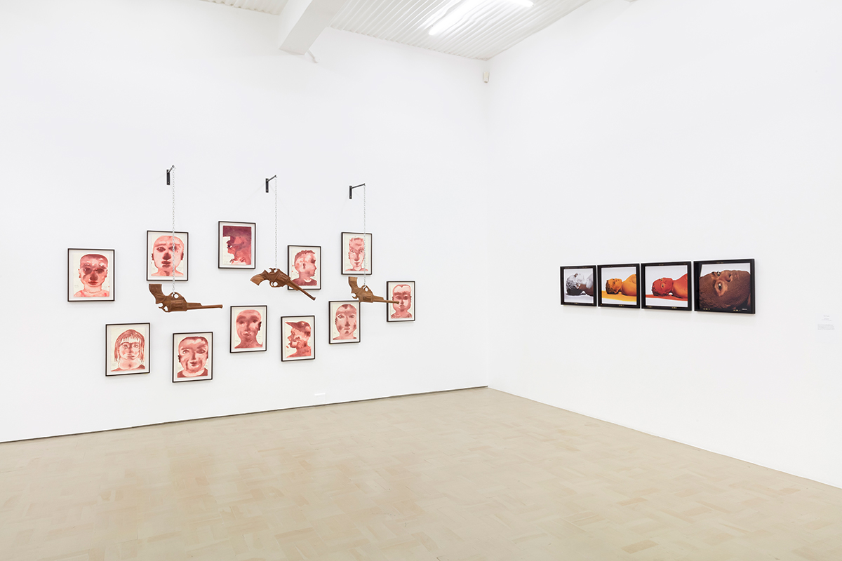 Installation view with works by Barthélémy Toguo and Berni Searle