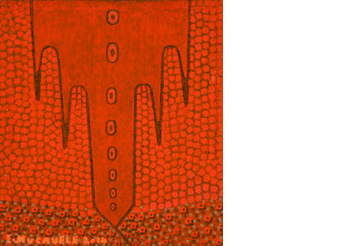 Untitled (Orange Mountains and Flowers)