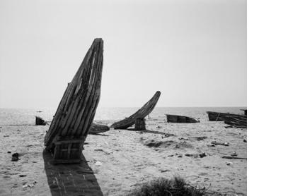 Beached boats in Baia Farta