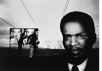 Portrait of a man with landscape and  procession (Bantu Stephen Biko 1946 – 1977)