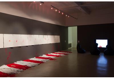 Installation view with works by Buhlebezwe Siwani, Unathi Sigenu and Akram Zaatari, Stevenson, Cape Town