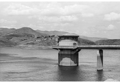 Katse Dam intake tower, Thaba-Tseka, from The Island