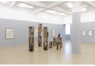 Installation view with I Was Never Here (Blackout) (foreground)