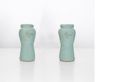 Coral blue vases with flower details, 13.2.15