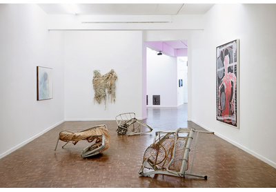 Installation view with works by Penny Siopis, Turiya Magadlela, Igshaan Adams and Barthélémy Toguo, Stevenson, Johannesburg