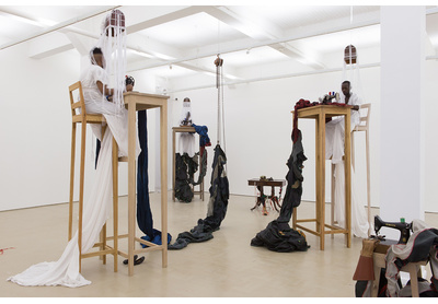Installation view and detail from performance