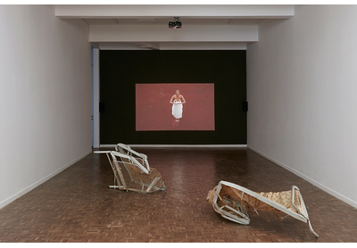 Installation view with works by Turiya Magadlela and Bronwyn Katz, Stevenson, Johannesburg