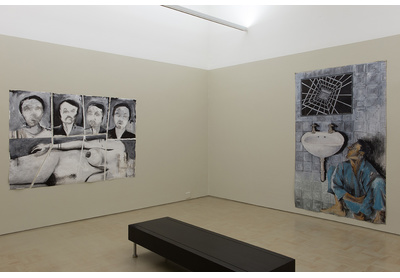 Installation view of Unathi Sigenu's The Beautiful Darkness, Stevenson, Cape Town